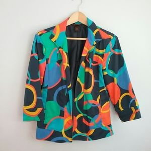 Multiples//Colorful Circle Open Front Jacket